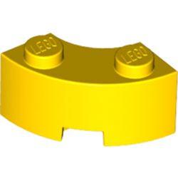 Yellow Brick, Round Corner 2 x 2 Macaroni with Stud Notch and Reinforced Underside
