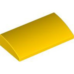 Yellow Slope, Curved 2 x 4 x 2/3 with Bottom Tubes - new