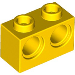 Yellow Technic, Brick 1 x 2 with Holes - used