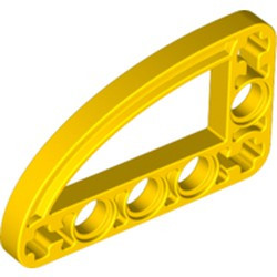 Yellow Technic, Liftarm, Modified L-Shape Quarter Ellipse Thin 3 x 5