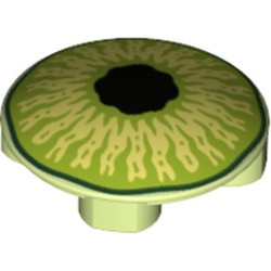 Yellowish Green Plate, Round 2 x 2 with Rounded Bottom and Lime and Black Eye Pattern - new