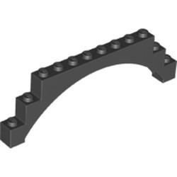 Black Brick, Arch 1 x 12 x 3 Raised Arch with 5 Cross Supports