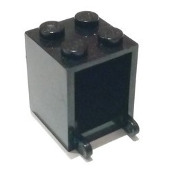 Black Container, Box 2 x 2 x 2 - Solid Studs