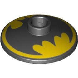 Black Dish 2 x 2 Inverted (Radar) - new with Black Batman Logo on Yellow Background Pattern