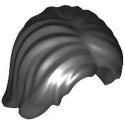 Black Minifigure, Hair Mid-Length Tousled with Center Part