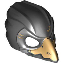 Black Minifigure, Headgear Mask Bird (Raven) - used with Gold Beak and Gold Markings Pattern