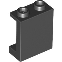 Black Panel 1 x 2 x 2 with Side Supports - Hollow Studs - new