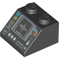Black Slope 45 2 x 2 with Silver Control Panel and Screen Pattern