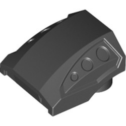 Black Slope, Curved 2 x 2 with 3 Side Ports Recessed