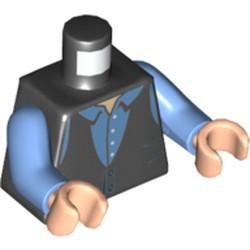 Black Torso Vest, Medium Blue Shirt with Collar Pattern / Medium Blue Arms / Light Nougat Hands