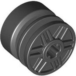Black Wheel 18mm D. x 14mm with Axle Hole, Fake Bolts and Shallow Spokes - used