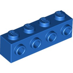 Blue Brick, Modified 1 x 4 with 4 Studs on 1 Side - new
