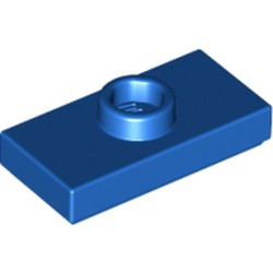 Blue Plate, Modified 1 x 2 with 1 Stud with Groove and Bottom Stud Holder (Jumper) - new