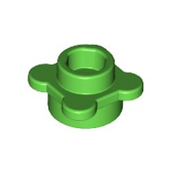 Bright Green Plate, Round 1 x 1 with Flower Edge (4 Knobs / Petals) - used