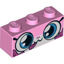 Bright Pink Brick 1 x 3 with Cat Face Wide Eyes, Closed Mouth with Tongue Sticking Out, Dark Pink Splotches Pattern (Dessert Unikitty) - new