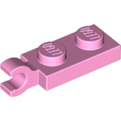 Bright Pink Plate, Modified 1 x 2 with Clip on End (Horizontal Grip) - new