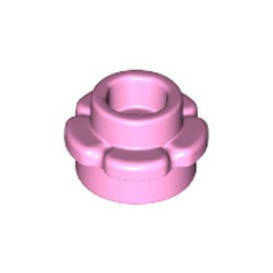 Bright Pink Plate, Round 1 x 1 with Flower Edge (5 Petals) - new