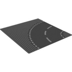 Dark Bluish Gray Baseplate, Road 32 x 32 6-Stud Curve with White Dashed Lines Pattern