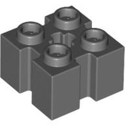 Dark Bluish Gray Brick, Modified 2 x 2 with Grooves and Axle Hole
