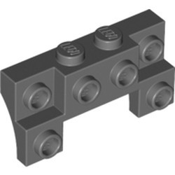 Dark Bluish Gray Brick, Modified 2 x 4 - 1 x 4 with 2 Recessed Studs and Thin Side Arches