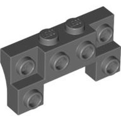 Dark Bluish Gray Brick, Modified 2 x 4 - 1 x 4 with 2 Recessed Studs and Thick Side Arches