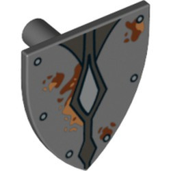 Dark Bluish Gray Minifigure, Shield Triangular with Silver Studs and Diamonds and Mud Spots Pattern - used