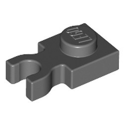 Dark Bluish Gray Plate, Modified 1 x 1 with U Clip Thick (Vertical Grip) - used