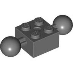 Dark Bluish Gray Technic, Brick Modified 2 x 2 with 2 Ball Joints