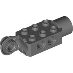 Dark Bluish Gray Technic, Brick Modified 2 x 3 with Pin Holes, Rotation Joint Ball Half (Vertical Side), Rotation Joint Socket - used