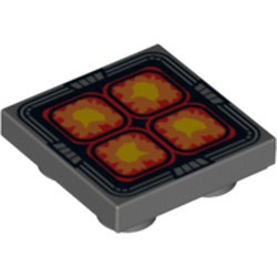 Dark Bluish Gray Tile, Modified 2 x 2 Inverted with 4 Orange, Red and Yellow Rounded Squares Pattern - used