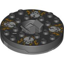 Dark Bluish Gray Turntable 6 x 6 Round Base with Black Top with White Skulls on Orange Pattern (Ninjago Spinner) - used
