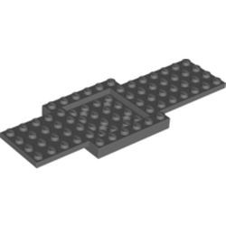Dark Bluish Gray Vehicle, Base 6 x 16 x 2/3 with 4 x 4 Recessed Center and 4 Holes