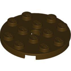 Dark Brown Plate, Round 4 x 4 with Hole