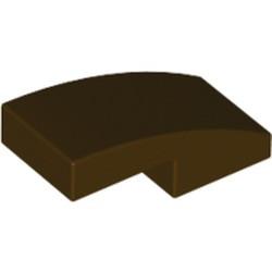 Dark Brown Slope, Curved 2 x 1 - new