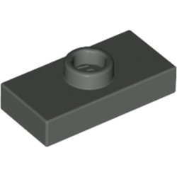 Dark Gray Plate, Modified 1 x 2 with 1 Stud without Groove (Jumper) - used