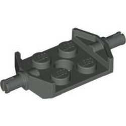 Dark Gray Plate, Modified 2 x 2 with Wheels Holder Wide and Hole