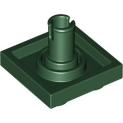 Dark Green Plate, Modified 2 x 2 with Pin on Bottom