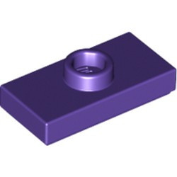 Dark Purple Plate, Modified 1 x 2 with 1 Stud with Groove and Bottom Stud Holder (Jumper) - used
