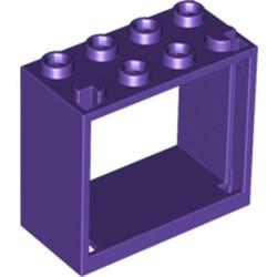 Dark Purple Window 2 x 4 x 3 Frame - Hollow Studs - used