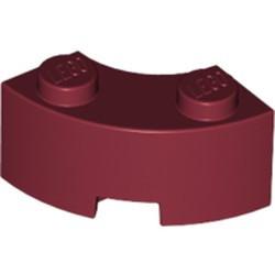 Dark Red Brick, Round Corner 2 x 2 Macaroni with Stud Notch and Reinforced Underside