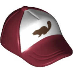 Dark Red Minifigure, Headgear Cap - Short Curved Bill with Seams and Button on Top and Dark Brown Beaver on White Pattern - used