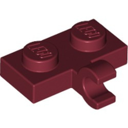 Dark Red Plate, Modified 1 x 2 with Clip on Side (Horizontal Grip) - new