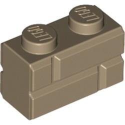 Dark Tan Brick, Modified 1 x 2 with Masonry Profile