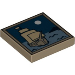 Dark Tan Tile 2 x 2 with Groove with Sailing Ship and Moon Pattern