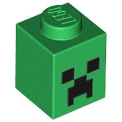 Green Brick 1 x 1 with Black Minecraft Creeper Face Pattern - new