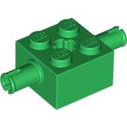 Green Brick, Modified 2 x 2 with Pins and Axle Hole - used