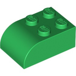 Green Slope, Curved 3 x 2 x 1 with Four Studs - used