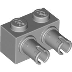Light Bluish Gray Brick, Modified 1 x 2 with Pins - new