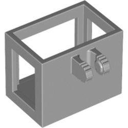 Light Bluish Gray Crane Bucket Lift Basket 2 x 3 x 2 with Locking Hinge Fingers, 7 Teeth