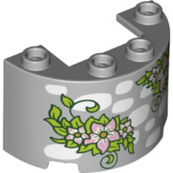 Light Bluish Gray Cylinder Half 2 x 4 x 2 with 1 x 2 Cutout with White Stones and Lime Green Leaves with Bright Pink Flowers Pattern - new